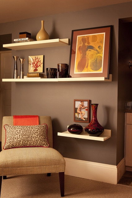 Picture Ledge Shelf Living Room Contemporary with Abstract Art Accent Chair