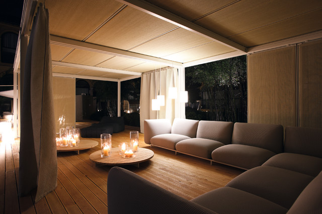 pillar candles Porch Contemporary with candles ceiling treatment corner