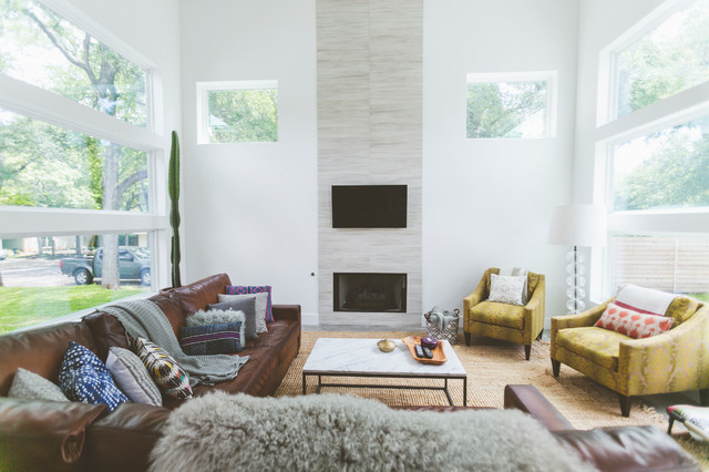 Pillow Inserts Living Room Contemporary with Brown Sofa High Ceiling