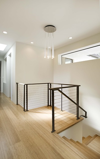 Pinnacle Lighting Staircase Contemporary with Balcony Bamboo Flooring Ceiling