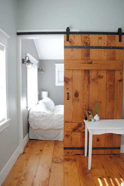 Pintuck Duvet Cover Bedroom Rustic with Barn Door Gray Walls