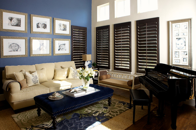 Plantation Blinds Living Room Contemporary with Area Rug Beige Couch