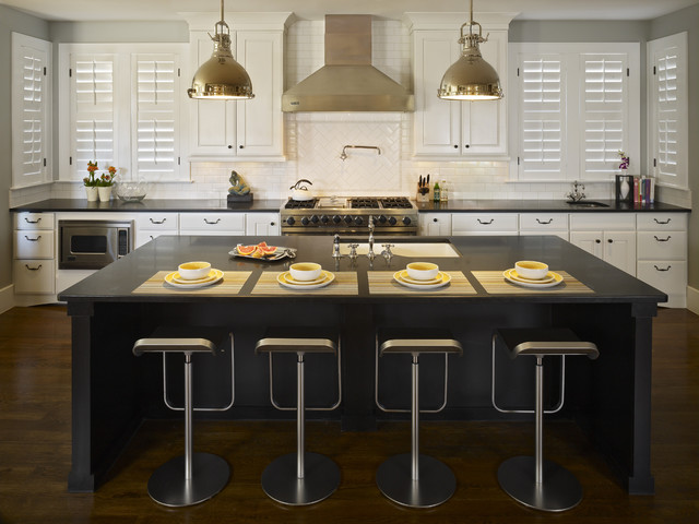 plantation shutters cost Kitchen Contemporary with breakfast bar dark floor