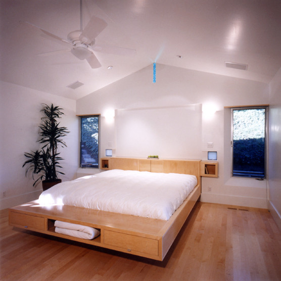 Platform Bed with Drawers Bathroom Contemporary with Ceiling Fan Gabled Ceiling