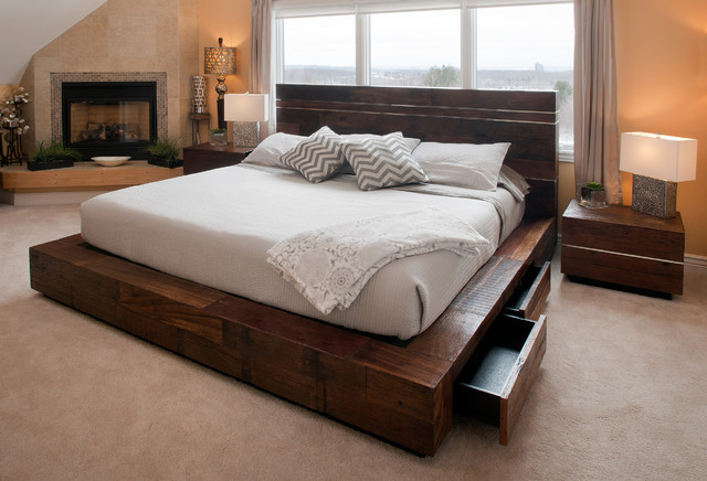 Platform Bed with Drawers Bedroom Transitional with Aged Wood Bed Antique