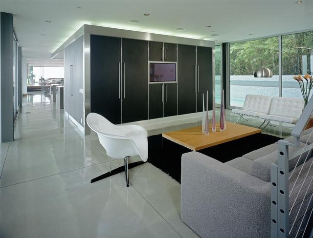 polished concrete floors Family Room Modern with arco floor lamp Barcelona