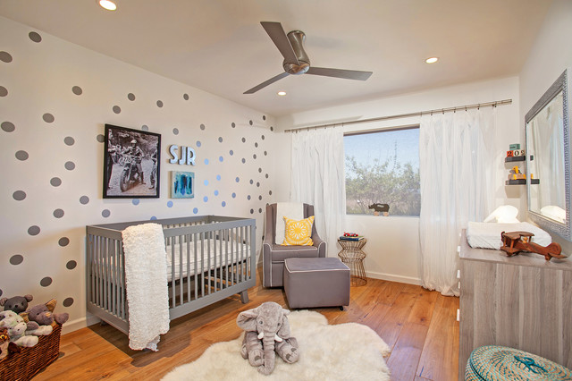 Polka Dot Rug Nursery Transitional with Armchair Ceiling Fan Changing