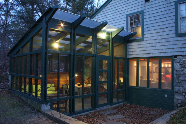 Polygal Porch Traditional with Enclosed Porch Entry Glass