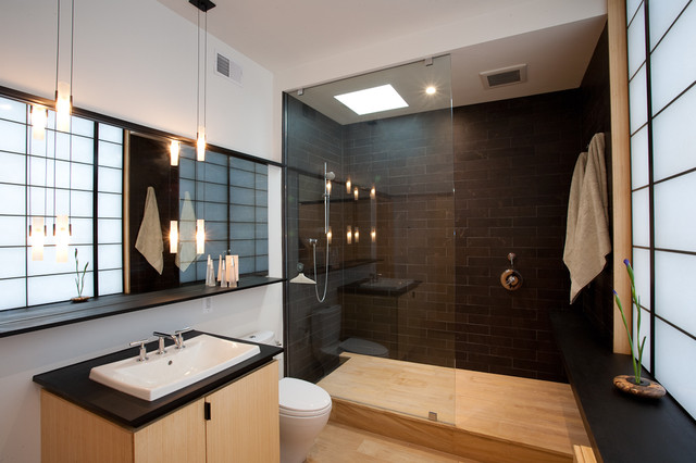 porcelain tile that looks like wood Bathroom Asian with black tiles blonde wood