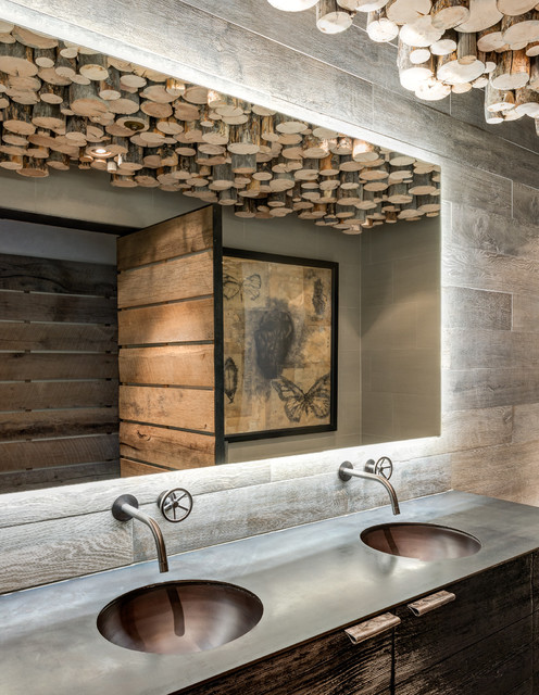 Porcelain Tile That Looks Like Wood Bathroom Rustic with Double Sinks Logs Wall