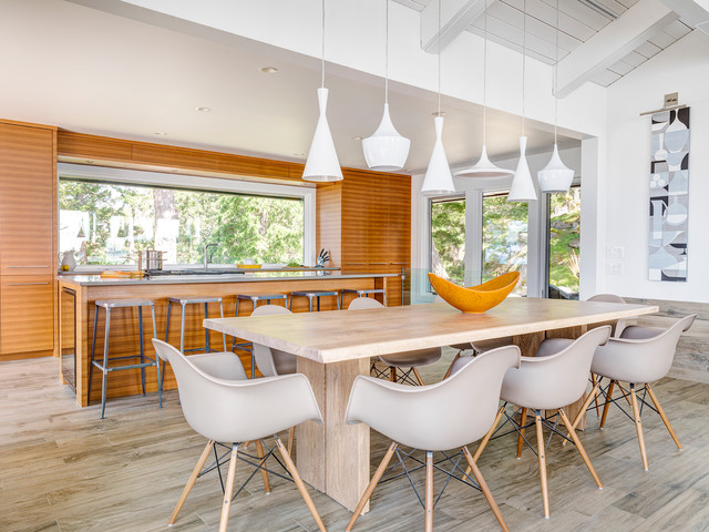 Porcelain Tile That Looks Like Wood Dining Room Beach with Gray Countertop Metal Bar
