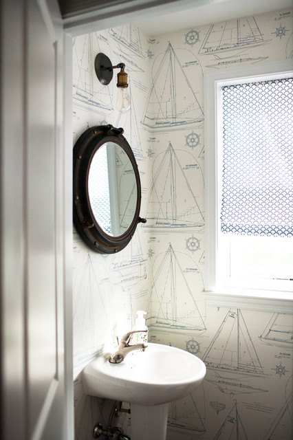 Porthole Mirror Powder Room Beach with Area Rugs Bamboo Blinds