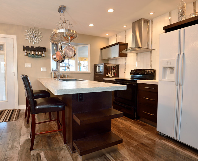 Pots and Pans Rack Kitchen Modern with Barstools Island Seating Kitchen