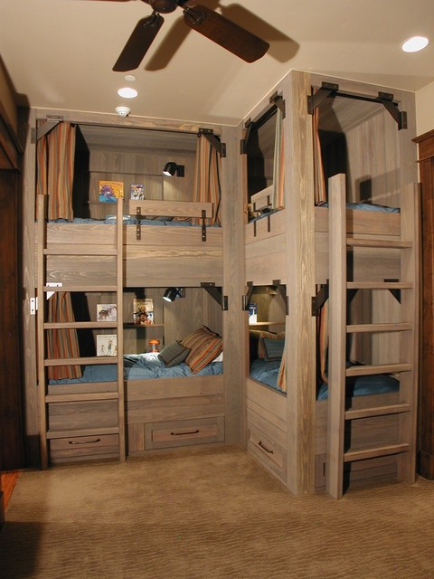 pottery barn bunk beds Kids Rustic with accent lighting beige carpet