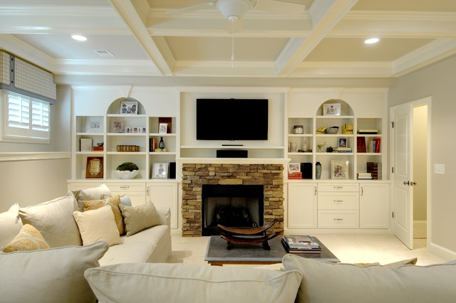 Pottery Barn Couch Family Room Traditional with Built in Cabinets Cabinets Casual