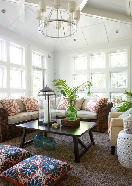 Pottery Barn Couch Sunroom Beach with Beachy Casual Floral Pillows