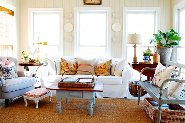 pottery barn sofas Family Room Shabby-chic with Accent Pillows area rug