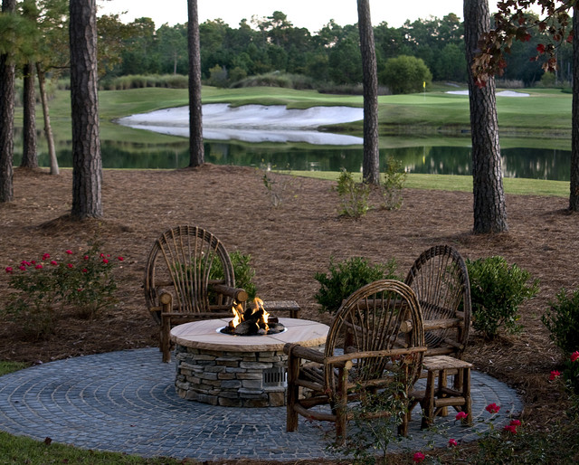Propane Fire Pit Kit Patio Rustic with Golf Course Outdoor Fire