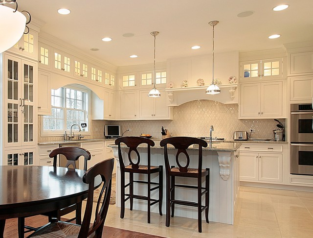 Puck Lights Kitchen Traditional with Diamond Pattern Tile Glass