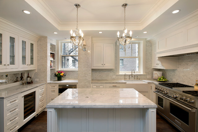 Quartzite Countertops Kitchen Traditional with Apron Sink Chain Crown