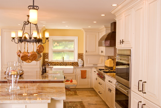 Quartzite Countertops Kitchen Traditional with Ceiling Lighting Chandelier Copper