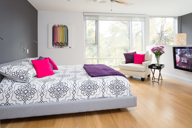 queen bedspread Bedroom Contemporary with accent wall bright pillows