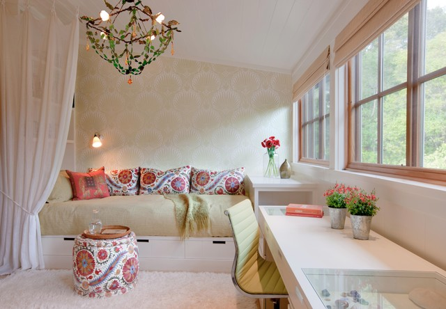 Queen Daybed Bedroom Eclectic with Bed with Storage Chandelier