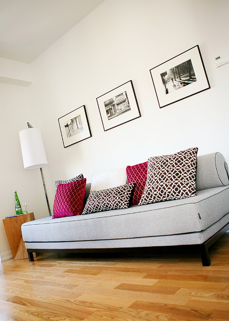 queen daybed Living Room Contemporary with black black and white