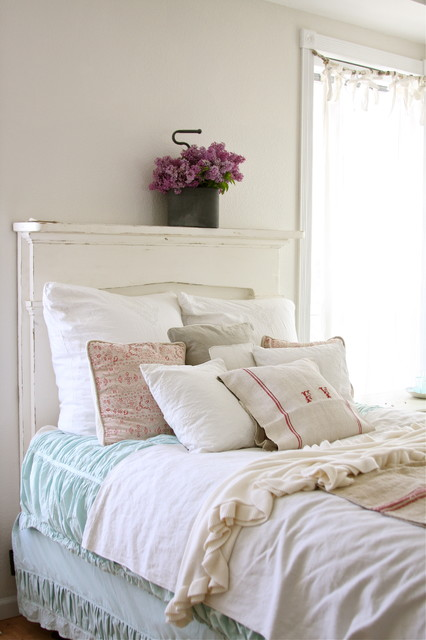 queen fitted sheet Bedroom Shabby-chic with bedskirt decorative pillows dust