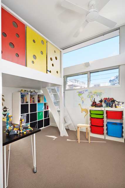 Queen Size Loft Bed Frame Kids Contemporary with Beige Carpet Colourful Cube