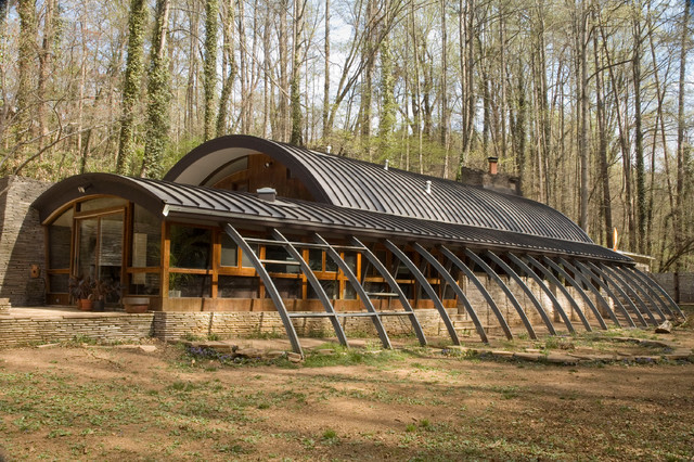 Quonset Hut Homes Exterior Eclectic with Curved Roofline Early Green
