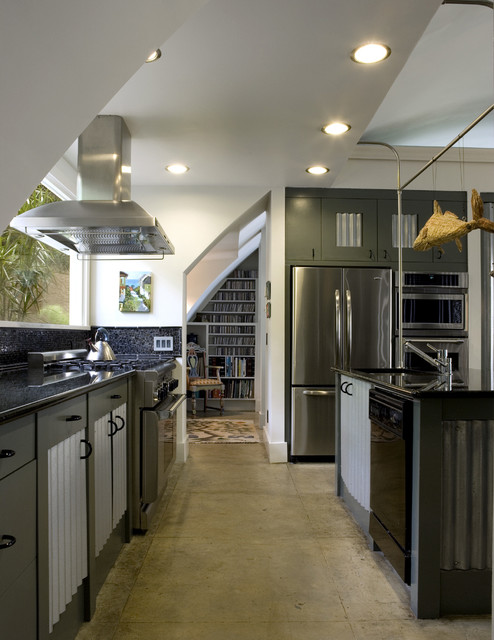 Quonset Hut Homes Kitchen Industrial with Black Countertop Ceiling Mounted