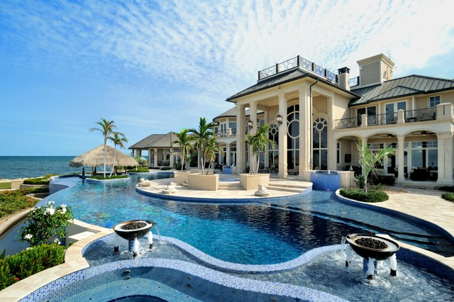 Quonset Hut Homes Pool Tropical with Arches Balcony Blue Columns