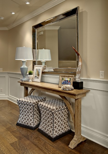 Rapport Furniture Entry Traditional with Antique Mirror Console Table