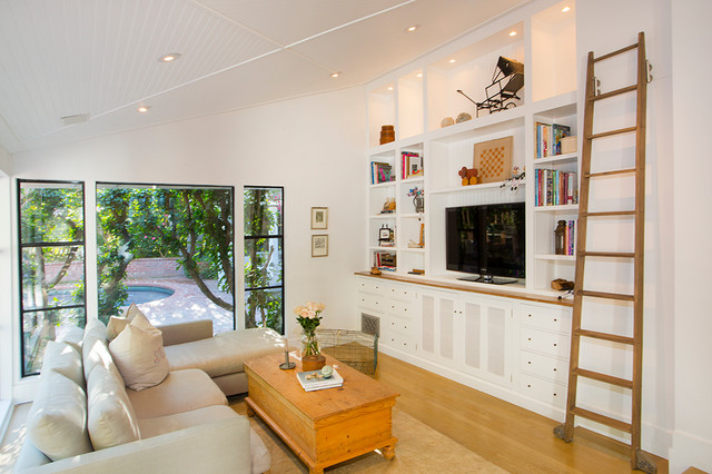 Rapport Furniture Family Room Eclectic with Area Rug Beadboard Ceiling