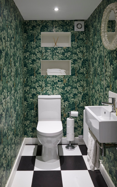 Recessed Toilet Paper Holder Powder Room Eclectic with Black and White Tiles