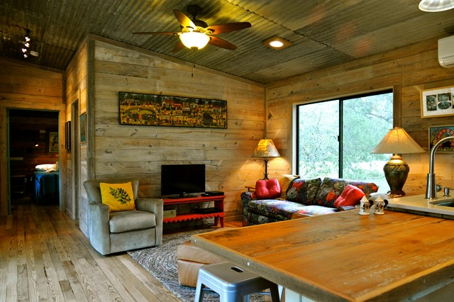 Reclaimed Wood Tv Stand Family Room Rustic with Area Rug Cabin Ceiling