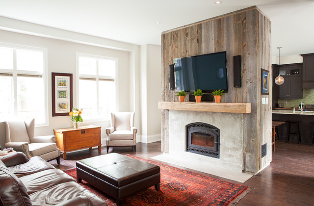 Reclaimed Wood Tv Stand Living Room Transitional with Beige Armchair Beige Wall
