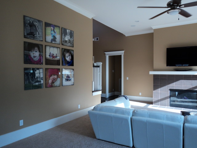 record album frames Living Room Contemporary with Art carpet ceiling fan