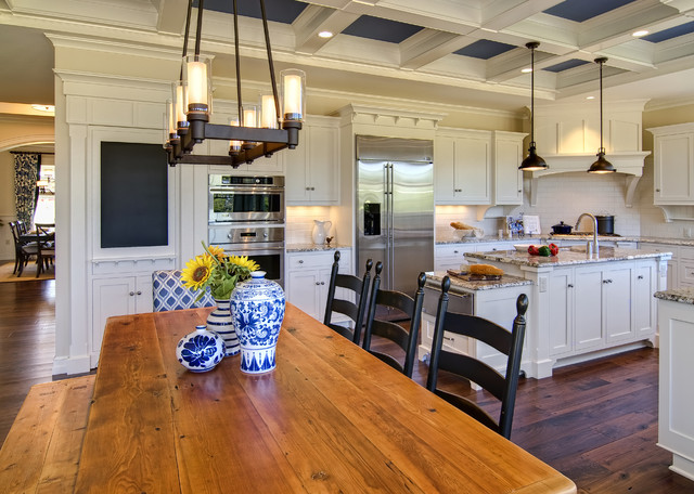 Rectangle Chandelier Kitchen Traditional with Chalkboard Coffered Ceiling Coffered