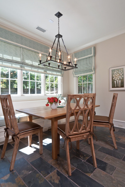 Rectangular Chandelier Dining Room Transitional with Aqua Banquette Baseboards Bay