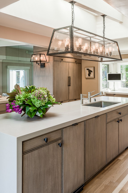 Reface Kitchen Cabinets Kitchen Transitional with Built in Refrigerator Caesarstone Caesarstone