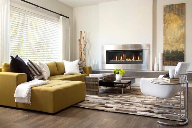 Regency Fireplace Living Room Contemporary with Area Rug Black Blinds
