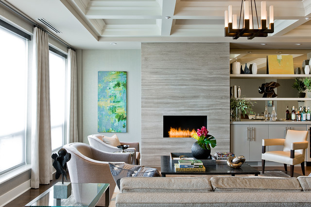 regency fireplace Living Room Contemporary with armchair built-in wet bar