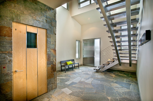 Residential Elevators Entry Contemporary with Ceiling Lighting Entry Bench