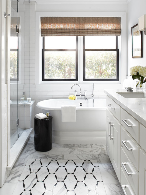 Restoration Hardware Baby and Child Bathroom Traditional with Bamboo Shade Black Window