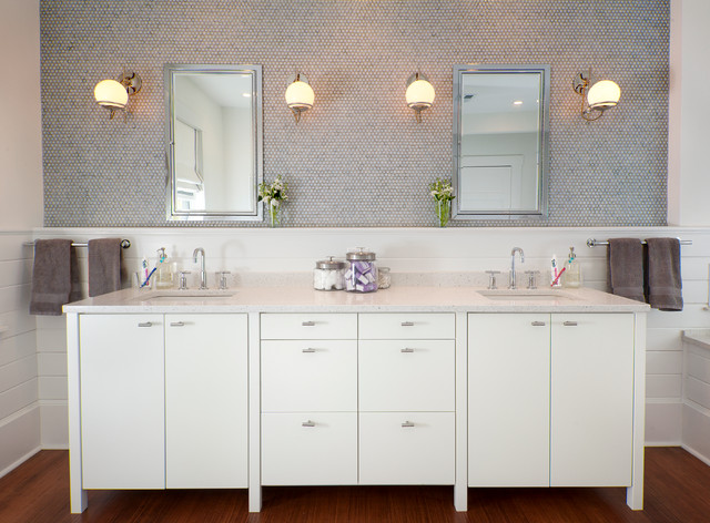 Restoration Hardware Baby and Child Bathroom Transitional with Ceasarstone Double Bathroom Sink