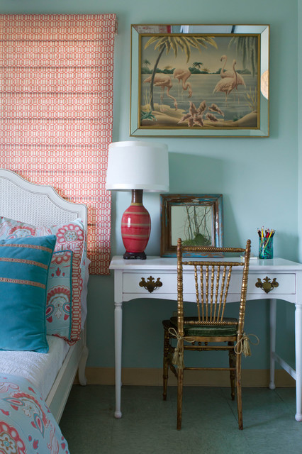 restoration hardware baby and child Bedroom Eclectic with bedside table coral duvet