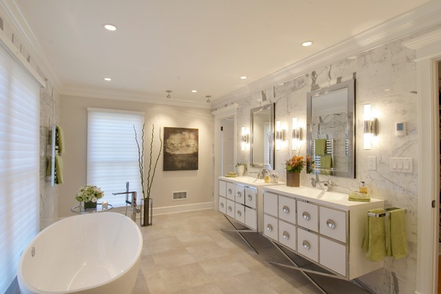robern Bathroom Contemporary with art lighting beige porcelain