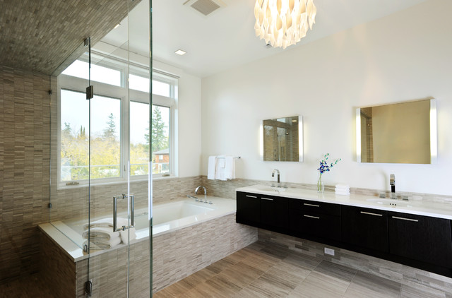 Robern Bathroom Contemporary with Dark Cabinets Flat Panel